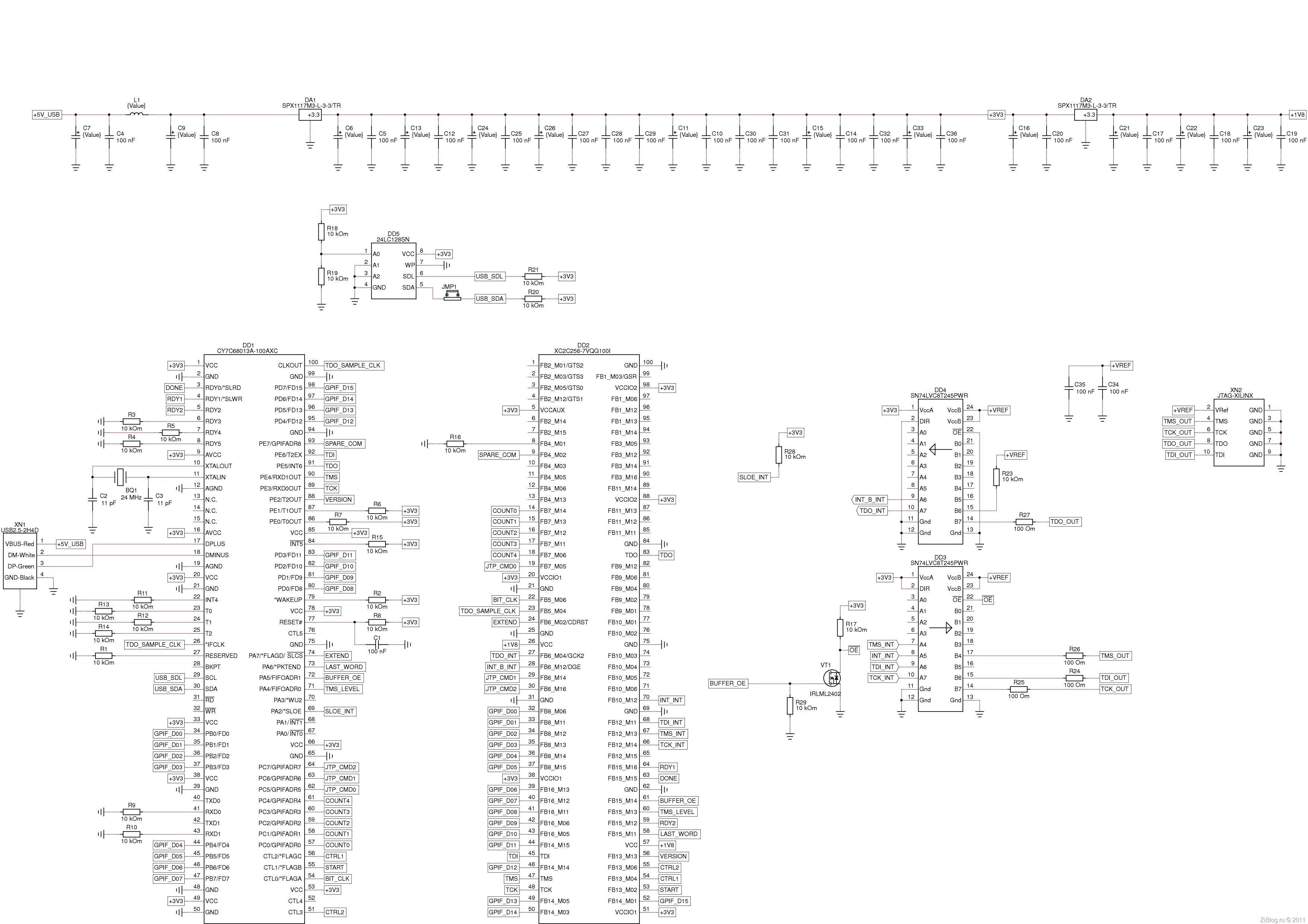 Схема программатора на xilinx