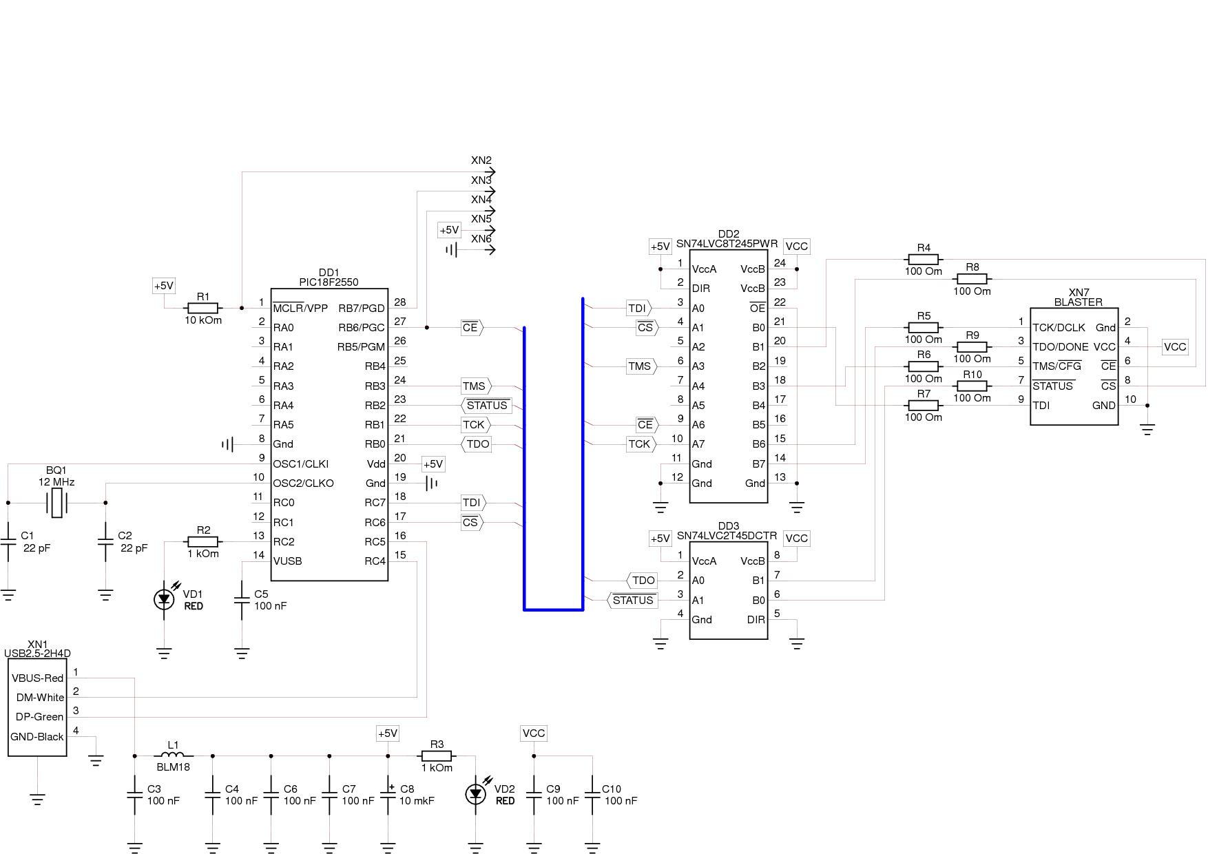 Usb-byteblaster схема